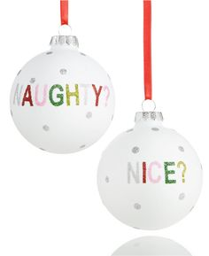 Holiday lane naughty or nice ornament: http://www.stylemepretty.com/2016/12/03/holiday-decorating-wedding-registry-essentials/