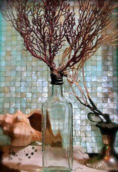 Vintage Aqua Apothecary Glass Bottle With Fiery Red by tresorbleu, $46.00