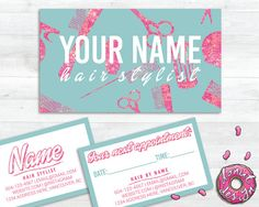Glitter Hair Stylist Business Appointment Card Template. Premade