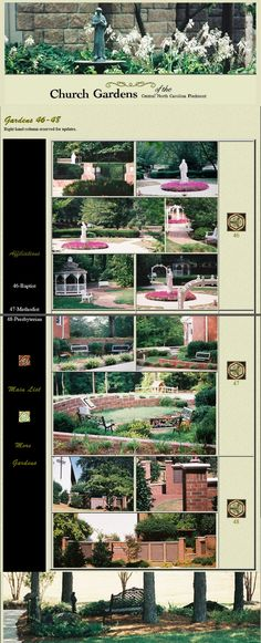 Church Gardens of the Carolina Piedmont: Another page from the former website, re-assembled Gardens, Landscape, Website, Scenery, Outdoor Gardens, Corner Landscaping, Garden, House Gardens