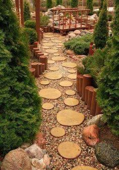 Ideas to Recycle Tree Stumps for Garden Art and Yard Decorations yard decorations recycling tree stumps and backyard landscaping ideas down by campfire ring.yard decorations recycling tree stumps and backyard landscaping ideas down by campfire ring. Diy Garden, Garden Paths, Garden Art, Garden Types, Wooden Garden, Tree Garden, Garden Cottage, Outdoor Projects, Garden Projects
