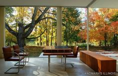 An interior from The Farnsworth House, 1945-1951, Illinois, USA by Ludwig Mies van der Rohe. / The Farnsworth House