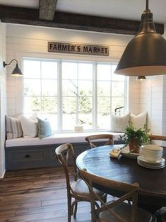 Kitchen Corner Bench Diy Farmhouse Table Ideas For 2019 Dining Room Bench Seating, Corner Seating, Floor Seating, Dining Room Design, Kitchen Seating, Table Bench, Dining Table, Kitchen Corner Bench, Window Seat Kitchen