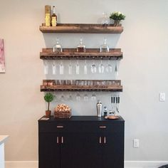 (X-LONG) Rustic Wood Wine Rack Wall Mounted Shelf & Hanging Stemware Glass Holder Organizer Bar Shelf Unique Wine Rack Shelf, Bar Shelves, Wood Wine Racks, Wine Rack Wall, Wall Mounted Shelves, Glass Shelves, Wine Glass Shelf, Bar Sala, Rustic Wooden Shelves