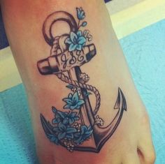 anchor with flowers tattoo - Google Search