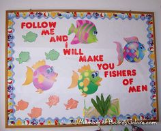 Fishers of Men, bulletin board Bible Bulletin Boards, Christian Bulletin Boards, Summer Bulletin Boards, Preschool Bulletin Boards, Bullentin Boards, Classroom Board, Bible School Crafts, Sunday School Crafts, Bible Crafts