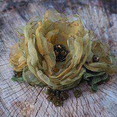 green mustard hair barette green flower hair barette floral hair piece big flower hair clip floral hair jewelry embroidered barette