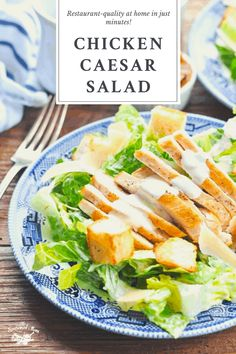 Whip up a restaurant-style Chicken Caesar Salad recipe at home in minutes! A bed of crispy romaine lettuce is topped with a creamy homemade Caesar dressing, toasted garlic bread croutons, shaved Parmesan cheese and tender, juicy chicken. It's a light-yet-satisfying easy dinner or lunch that's perfect for the warm weather months! Marinated Grilled Chicken, Pan Seared Chicken, Frozen Garlic Bread, Salad Recipes, Healthy Recipes, Chicken Caesar Salad, Delicious Dinner Recipes, How To Cook Chicken, Lettuce