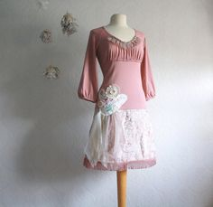 Pink Shabby Chic Dress Upcyced Women's Clothing Dusty Rose Tattered Lace Drop Waist Anthropologie Medium Large 'CHANTILLY'