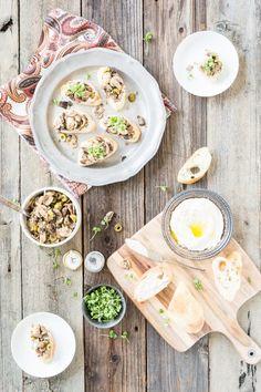 Portobello Mushroom Bruschetta with Truffled White Bean Hummus