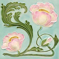 Art Nouveau Tile by GOLEM www.golem-baukera Getting all Nostalgic again. Art Nouveau Tiles, Art Nouveau Design, Vintage Tile, Vintage Art, Vitromosaico Ideas, Azulejos Art Nouveau, Art Nouveau Flowers, Jugendstil Design, Architecture Art Design