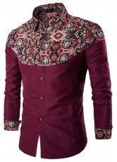 Camisa Casual - Desenho de Estilo Persa - em Vinho, Branco e Preto