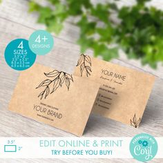 Printable Kraft Business Card Templates for Square & Classic Cards - Editable Botanical Business Card Template - Custom Floral Calling Card Packaging Stickers, Personalized Ribbon, Thank You Card Template, Label Templates, Custom Fonts, Calling Cards, Logo Sticker, Label Design, Business Cards