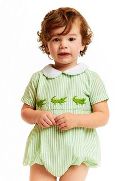 fafba5632 Green Seersucker Alligator Bubble - Smocked Threads by Cecil and Lou Cecil  And Lou, Seersucker