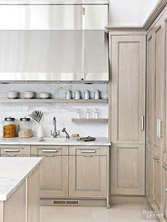Great post on open shelving in the kitchen by BECKI OWENS Open Shelving Under Hood 2