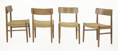 A set of four Danish teak dining chairs,  with paper cord woven seats (4) £120-150 on 13th June 2017