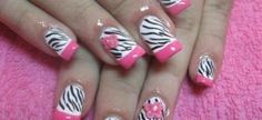 French manicure in rose and zebra
