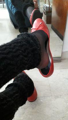 Red flats and leg warmers - Elektra Z. White Ballet Flats, Red Flats, Flat Shoes, Wedding Flats, Pantyhose Heels, Socks And Heels, Ballerina Shoes, Women's Feet, Sexy Feet