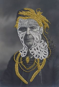 « Henry » 9 x 14cm, embroidery on found photograph, 2012 Stacey Page mat in silver frame 17 x 23.5cm, signature on verso