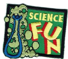 Girl Boy Cub SCIENCE FUN Beaker Patches Crest Badge SCOUT GUIDE biology class