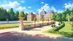 ArtStation - The Luxembourg Gardens, Sylvain Sarrailh Anime Backgrounds Wallpapers, Anime Scenery Wallpaper, Episode Interactive Backgrounds, Episode Backgrounds, Scenery Background, Animation Background, Fantasy Places, Fantasy World, Casa Anime