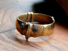 Rare Antique Late Medieval Era French Gold Gilt Archer's Thumb Ring by Timeslide