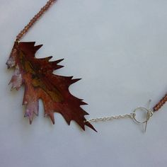 Aged copper leaf necklace by AlisonYoungJewellery on Etsy, £30.00