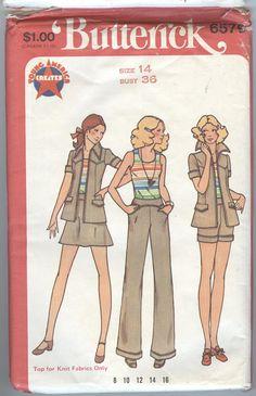 1970s Jacket Pattern Vintage Buttericks 6579 Womens Sewing Patterns Shorts Pants Shirt Jacket Top Mini Skirt, uncut