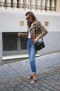 Lady Addict. White t-shirt+high waist jeans+blush lace up Miu Miu ballerinas+leopard print perfecto jacket+black shoulder bag+sunglasses. Fall Outfit 2016