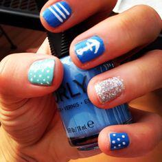Nautical nails - summer 2013  1. Orly Gumdrop 2. Orly Tiara  3. Orly Snowcone 4. Stripe Rite white  5. Orly Sealon Topcoat @orlybeautybuzz
