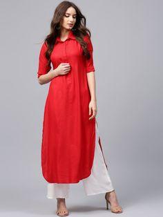 Buy Libas Women Red Self Design Pathani Kurta - - Apparel for Women Long Kurta Designs, Simple Kurta Designs, Stylish Dress Designs, Kurta Designs Women, Stylish Dresses, Simple Dresses, Blouse Designs, Fashion Dresses, Red Kurti Design
