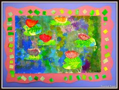 PAINTED PAPER: Monet Masterpieces - Some beautiful ideas at this site.  I especially like the idea of the border.  Jan Brett uses borders in her book illustrations.  Another picture book with borders on each page is, A Chair for My Mother.