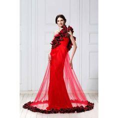 Amazing Sheath One-Shoulder Floor-Length Satin and Tulle Wedding Dress WSC06651-TB , #weddingdress, #bridalgown, #bridaldress, #weddinggown, #wedding, #bridal, #dress, #gown, #love, #happyday, #special, #bride, #groom, #pinterest, #vogue, #fashion, #boutique, #bouquet, #designer