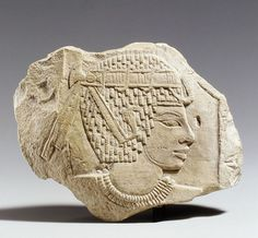Relief Trial Piece with the Head of the King. Period: New Kingdom. Dynasty: Dynasty 18. Reign: reign of Amenhotep III. Date: ca. 1390–1352 B.C. Geography: From Egypt, Upper. Egypt; Thebes. Medium: Limestone.