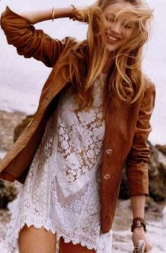 Nice white lace mini dress, and natural leather jacket.