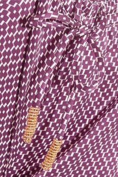 Paloma Blue - Venice Printed Silk-satin Pants - Magenta - medium