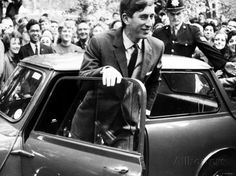 Prince Charles at Cambridge University Steps from His Mini Car on Arriving at Trinity College Photographic Print