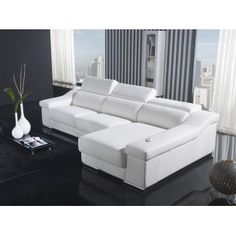 "White Leather ""L"" Shape Sectional Sofa"