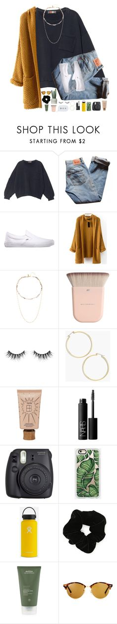 """now there's too many thoughts going through my brain."" by sunsflowers ❤ liked on Polyvore featuring MSGM, Levi's, Vans, Native Gem, Huda Beauty, J.Crew, tarte, NARS Cosmetics, Fuji and Casetify"