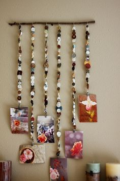 """Hang art from a 'stringed button hanger' -string, lots of buttons, a twig & some hanging clips ("""",) - for the art area? or display board to show off some of our amazing art?"""