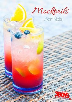 Mocktails for Kids - Children love yummy cocktails like their parents.  However, a kid's drink should be non-alcoholic.  These are great for your next birthday party