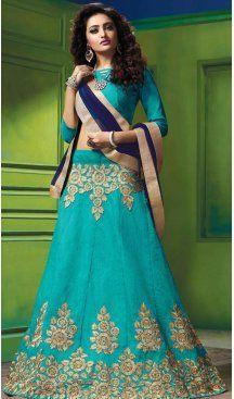 Turquoise Color Silk Embroidery Work Indian Festival Wear Lehengas Choli | FH564984061 Follow us @heenastyle  #lehenga #partywear #indianethnics #stylish #fashion #bahrain #canada #saudiarabia #uk #us #uae #malaysia #dreamwedding #indianbrides #weddingfashion #bridalwear #lehengacholi #variety #designer #prettywears #gown #anarkali #pakistaniwedding #pakistani #pakistanibride #indowestern #indowedding #heenastylelehenga #heenastyle