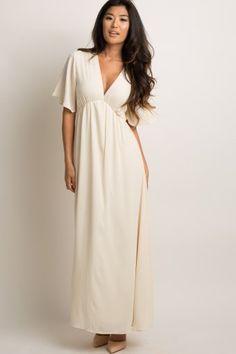 abef6f16e06 Ivory Chiffon Bell Sleeve Maxi Dress White Maxi Dresses