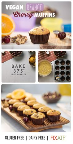 These vegan orange cherry muffins are delightfully sweet, fruity, and simple to… Healthy Dessert Recipes, Healthy Treats, Healthy Food, Healthy Eating, Fixate Recipes, Vegan Recipes, 21 Day Fix Breakfast, Breakfast Healthy, Cherry Muffins