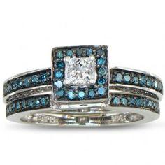 Blue & White Diamond Bridal Set - Unusual Engagement Rings Review