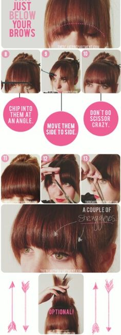 Nothing too colorful about this, but it's helpful: How to cut bangs