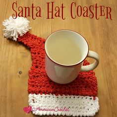 Santa Hat Coaster ~ Free Crochet Pattern