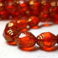 Czech Glass Cathedral Beads Orange and Gold Luster by starbazaar, $3.75