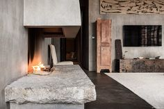 Penthouse TriBeCa Suite, The Greenwich Hotel, New York City, interior, fireplace, Axel Vervoordt / Garance Doré