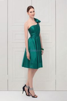 Green A-Line/Princess One Shoulder Empire Sleeveless Homecoming Dresses With Bow HDCB6